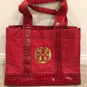 Authentic Tory Burch red nylon croc print tote